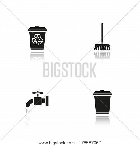 Cleaning service drop shadow black icons set. Environment protection. Running tap water, recycle bins, mop. Isolated vector illustrations