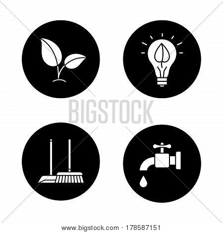 Environment protection icons set. Ecology sign, cleaning service, water resources, eco energy concept. Vector white silhouettes illustrations in black circles