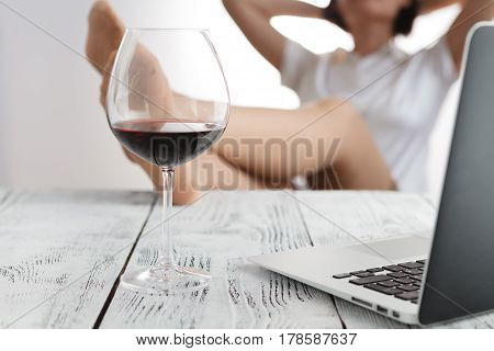 Despising Conventions Business Woman Relaxing In The Office With His Feet On The Table
