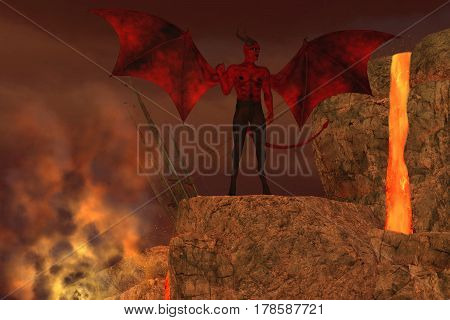Devil Creature in Hell 3d illustration - The Devil is considered to be a creature of myth and religious folklore and the enemy of God.