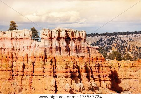 Earth material exposed to erosion action at Bryce Canyon National Park, State Utah, USA