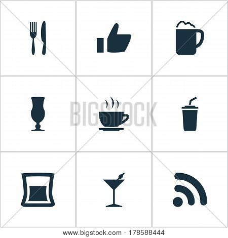 Vector Illustration Set Of Simple Beverage Icons. Elements Fork With Knife, Wireless Connection, Coffee Late And Other Synonyms Like, Alcohol And Tea.