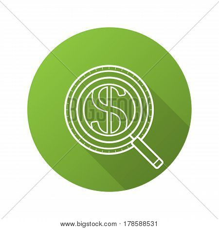 Money search flat linear long shadow icon. Magnifying glass with dollar sign. Market analysis and business analytics. Vector line symbol