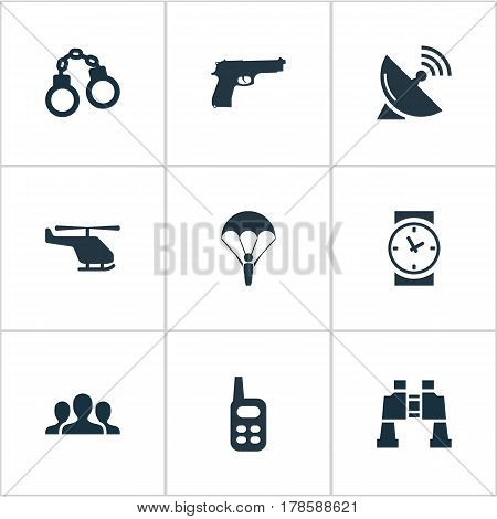 Vector Illustration Set Of Simple Battle Icons. Elements Signal Receiver, Helicopter, Pistol And Other Synonyms Manacles, Clock And Paratrooper.