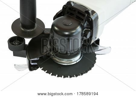 Powerful circular saw close up on white background
