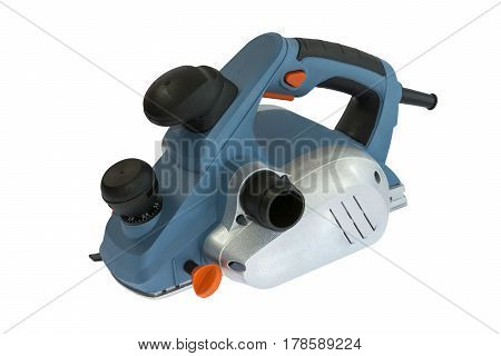 Electric plane jointer isolated on a white background with clipping path. The machine for planing wood. Tools for carpenters.