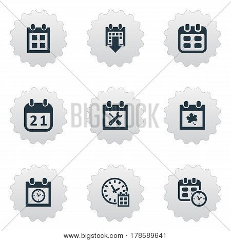 Vector Illustration Set Of Simple Date Icons. Elements Reminder, Event, History And Other Synonyms Date, Calendar And History.