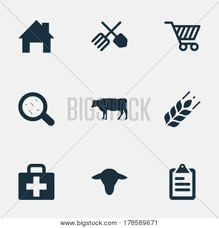 Vector Illustration Set Of Simple Harvest Icons. Elements Cart, Horticulture Equipment, Ranch Home And Other Synonyms Small, Virus And Magnifier.