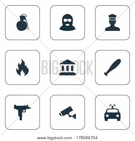 Vector Illustration Set Of Simple Police Icons. Elements Thief, Sheriff, Blaze And Other Synonyms Gangster, Court And Explosive.