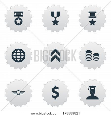 Vector Illustration Set Of Simple Reward Icons. Elements Growth Diagram, Triumphant, Guard And Other Synonyms World, Champion And Up.