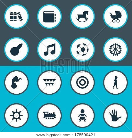 Vector Illustration Set Of Simple Infant Icons. Elements Bookshop, Fetus, Start Walk And Other Synonyms First, Library And Kid.