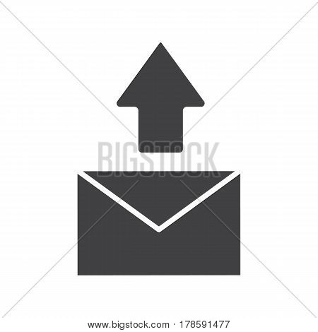 Send message icon. Email letter silhouette symbol. Send sms message. Negative space. Vector isolated illustration