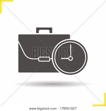 Work time icon. Drop shadow working hours silhouette symbol. Business briefcase with clock. Negative space. Vector isolated illustration
