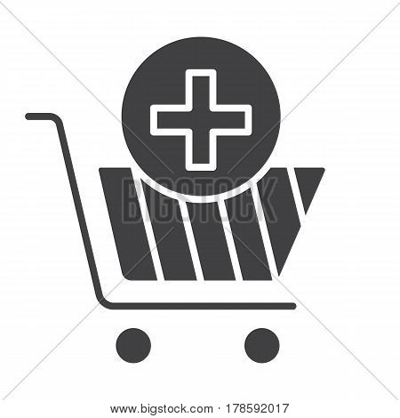 Drugstore shopping icon. Pharmacy silhouette symbol. Shopping cart with medical cross. Negative space. Vector isolated illustration
