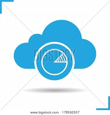Cloud hosting statistics icon. Drop shadow diagram silhouette symbol. Cloud computing. Negative space. Vector isolated illustration