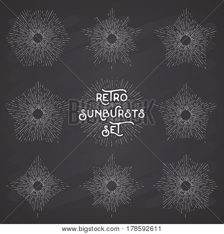 Retro sun bursts set Vintage radiant sun rays shapes collection for logo labels or emblems and typography decoration template vector Illustration on chalkboard background