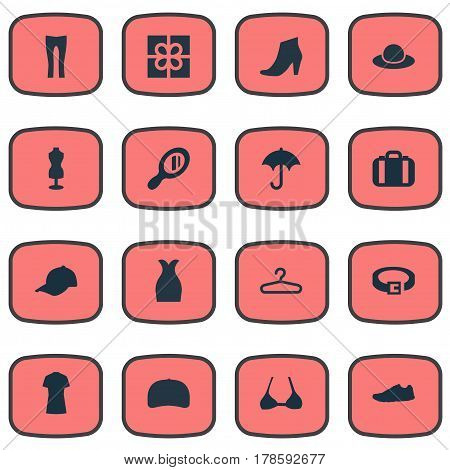 Vector Illustration Set Of Simple Dress Icons. Elements Brasserie, Rack, Present And Other Synonyms Fashion, Heel And Hanger.