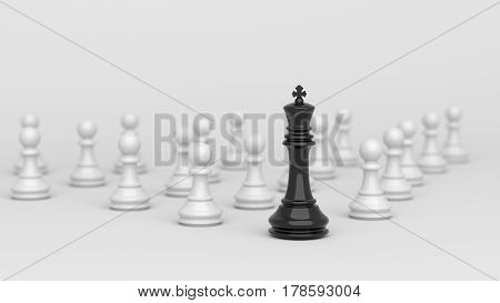 Leadership concept black king of chess standing out from the crowd of white pawns on white and blurred background. 3D rendering.