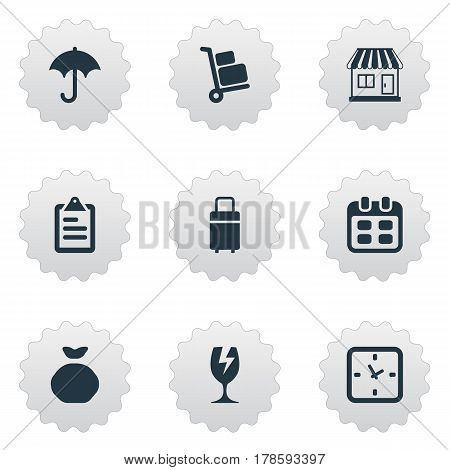 Vector Illustration Set Of Simple Delivery Icons. Elements Minutes, Packaging, Trip Luggage And Other Synonyms Mall, Transportation And Rain.