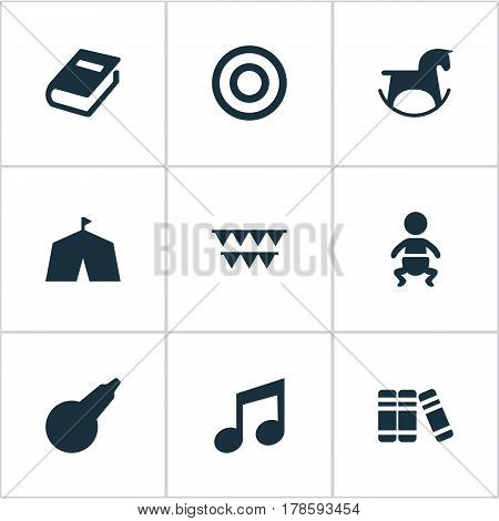 Vector Illustration Set Of Simple Kid Icons. Elements Festival, Bookshop, Clyster And Other Synonyms Music, Textbook And Carnaval.
