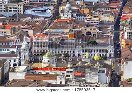 Old city of Quito from the Panecillo hill. A view of the downtown area, Ecuador, South America.