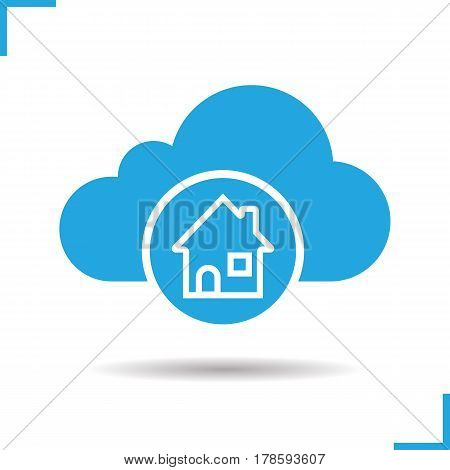 Cloud storage home page icon. Drop shadow house silhouette symbol. Cloud computing. Negative space. Vector isolated illustration