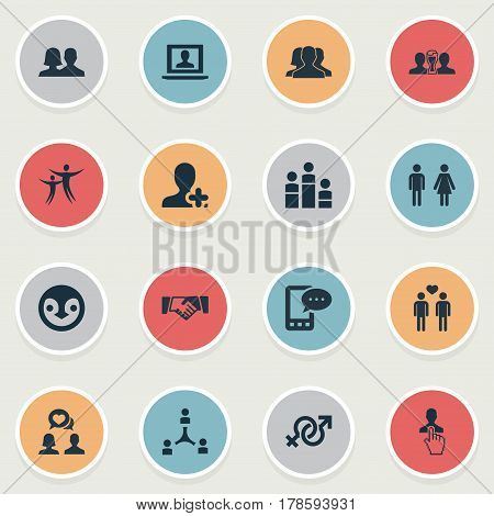 Vector Illustration Set Of Simple  Icons. Elements Penguin, Winner, Select Man And Other Synonyms Association, Handshake And Talking.