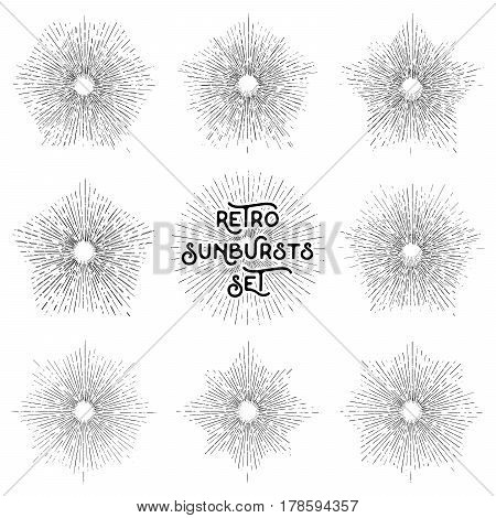 Retro sun bursts set Vintage radiant sun rays shapes collection for logo labels or emblems and typography decoration template vector Illustration isolated on white background