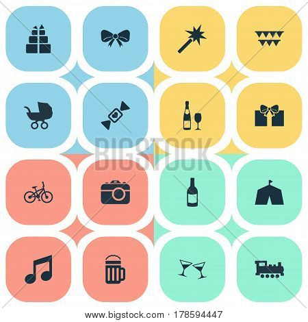 Vector Illustration Set Of Simple Birthday Icons. Elements Circus, Present, Train And Other Synonyms Baby, Sweet And Sound.