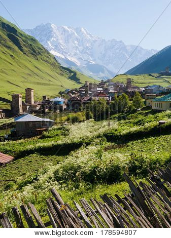 Mountain landscape with a snowy peak. The ancient alpine village. Sunny summer day with a clear sky. The village of Ushguli and Mount Shkhara. Main Caucasian ridge, Zemo Svaneti, Georgia
