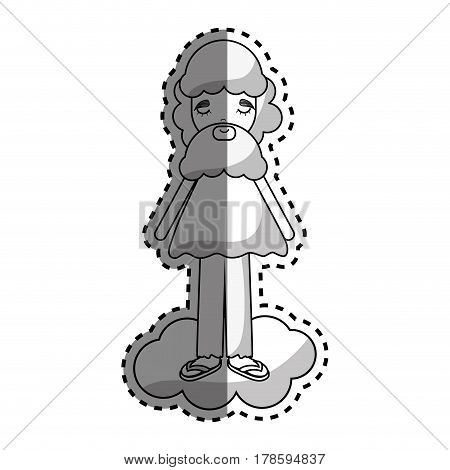 man in cloud with casual cloth and beard, vector illustration design