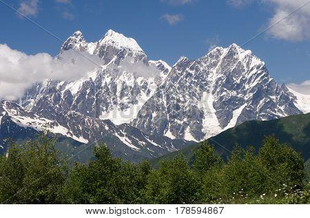 Mountain peak. Main Caucasian Ridge, Mount Ushba. Zemo Svaneti, Georgia
