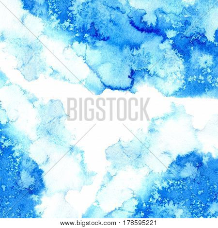 Blue watery frame .Abstract watercolor hand drawn illustration. Azure splash.White background.