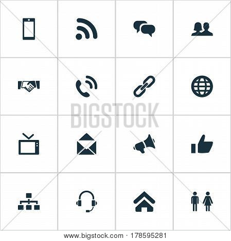 Vector Illustration Set Of Simple Social Icons. Elements Handshake, Conversation, Headphone Synonyms Smartphone, Megaphone And Talking.