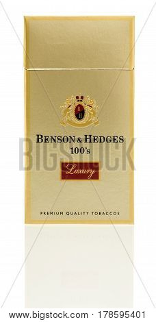 Winneconne WI - 24 March 2017: Pack of Benson & Hedges Luxury cigarettes on an isolated background.