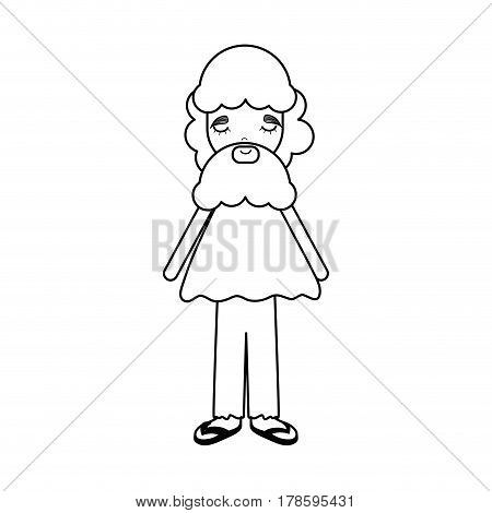 figure man with beard and casual cloth icon, vector illustration design