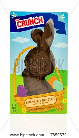 Winneconne WI - 26 March 2017: Package of Crunch chocolate bunny made by Nestle on an isolated background.