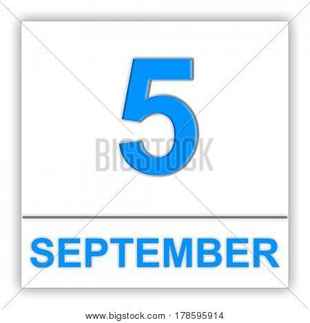 September 5. Day on the calendar. 3D illustration