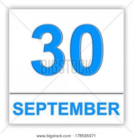 September 30. Day on the calendar. 3D illustration