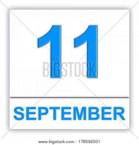 September 11. Day on the calendar. 3D illustration