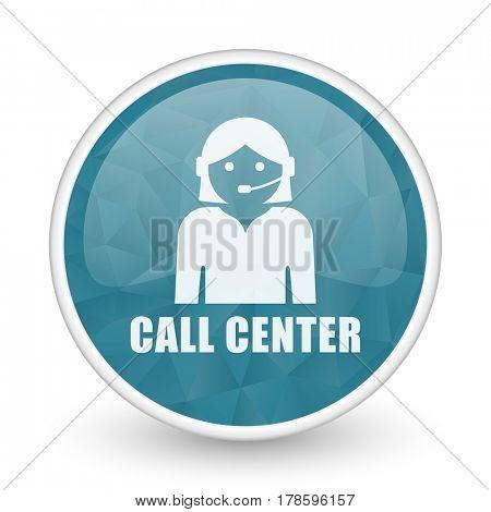 Call center brillant crystal design round blue web icon.