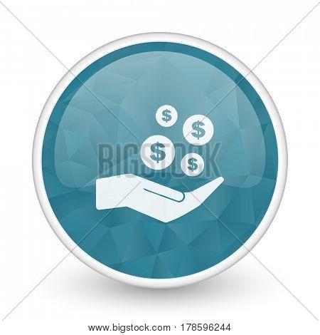 Save money brillant crystal design round blue web icon.