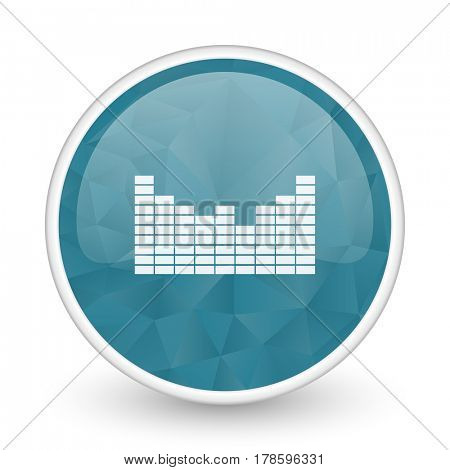 Sound brillant crystal design round blue web icon.