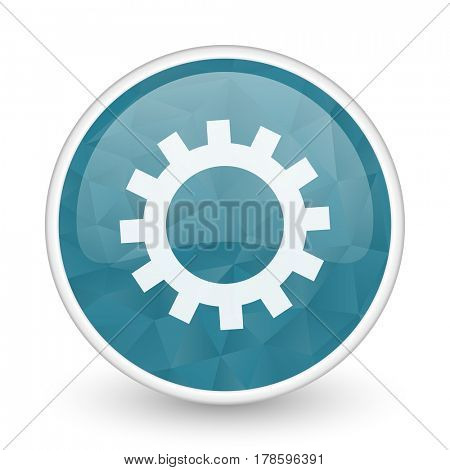 Gear brillant crystal design round blue web icon.