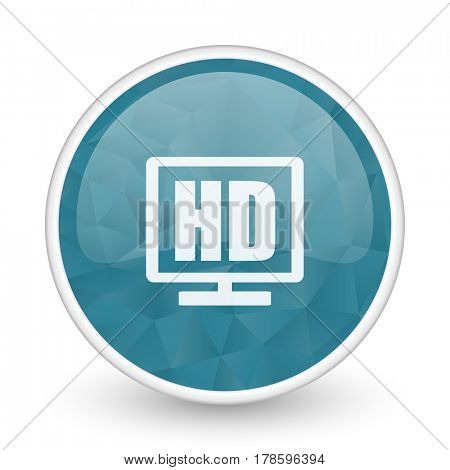 Hd display brillant crystal design round blue web icon.