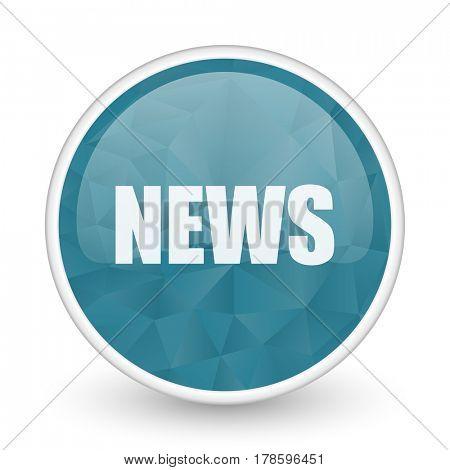 News brillant crystal design round blue web icon.