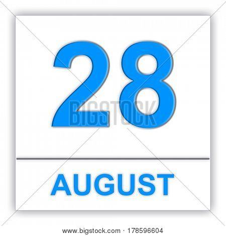 August 28. Day on the calendar. 3D illustration