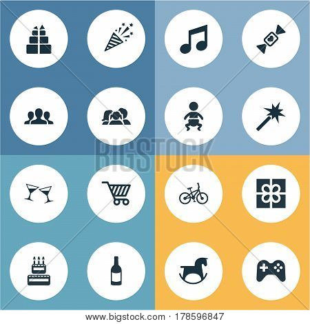 Vector Illustration Set Of Simple Birthday Icons. Elements Caramel, Beverage, Firecracker And Other Synonyms Explosion, Joystick And Firework.