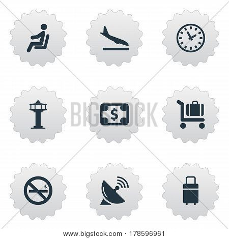Vector Illustration Set Of Simple Travel Icons. Elements Flight Control Tower, Alighting Plane, Cigarette Forbidden And Other Synonyms Warning, Fly And Trolley.