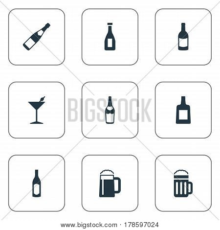 Vector Illustration Set Of Simple Beverage Icons. Elements Beverage, Bottle, Champagne And Other Synonyms Whiskey, Pint And Drink.